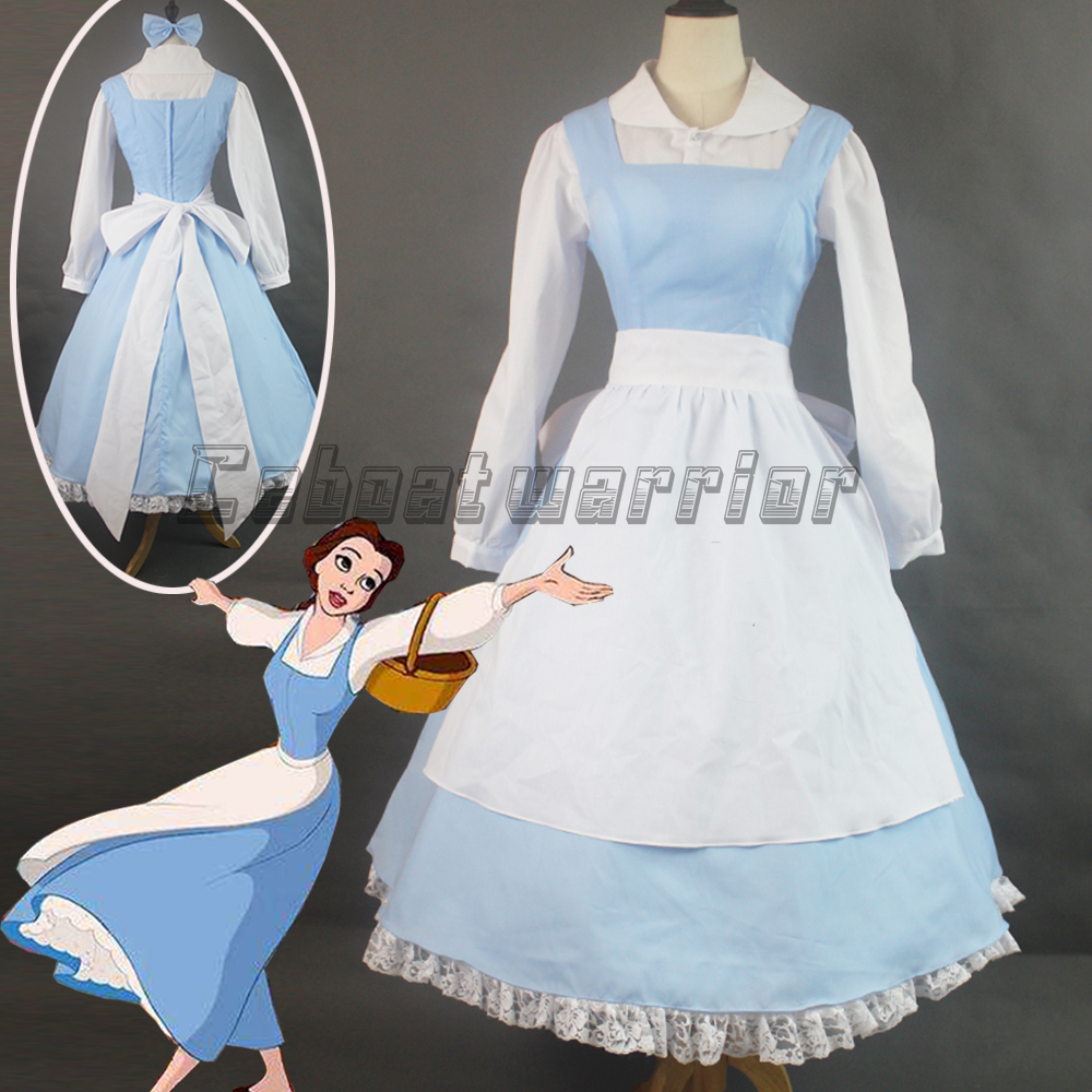 White apron belle - Customized Movie Beauty And The Beast Princess Belle Blue Maid Apron Cosplay Costume Adult Women Halloween