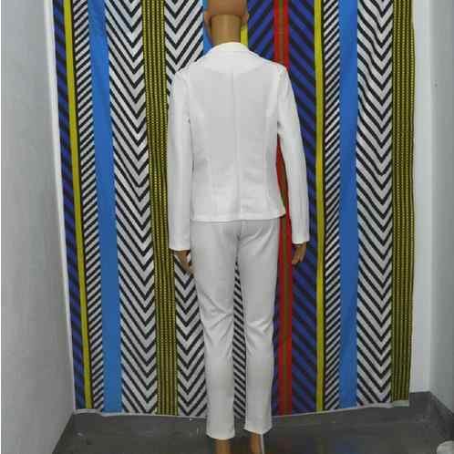 2018 春の新公式女性スーツ白 2 点セット長袖スリムストレートパンツ作業服エレガントな女性スーツ WR487