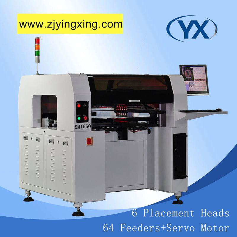 Low Wear Pick and Place Machine,64 Feeders SMD Mounting Machine LED Chip Mounter Machine with 6 Heads and 8 Cameras