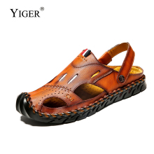 YIGER New Men sandals big size 2019 man beach casual genuine leather slippers Non-slip waterproof summer leisure  293