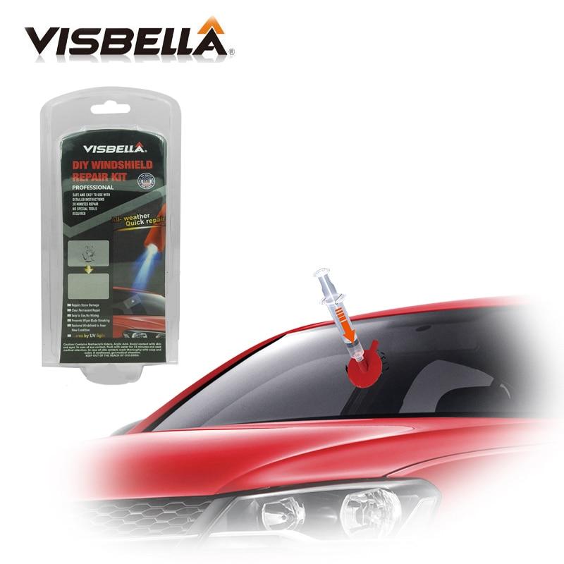 Visbella DIY Windshield Repair Windscreen Glass Kit Chip Crack Bullseye Restore Glue Adhesive With UV Lamp Hand Tool Sets