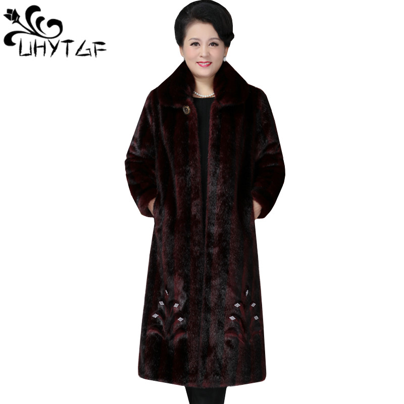UHYTGF L 3XL Oversized Winter fur jacket female fashion luxury imitation mink fur coat stripe loose