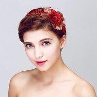 Red Rose Hairband Wedding Party Prom Women Headpiece Pearl Bridal Tiara Hair Accessories Handmade
