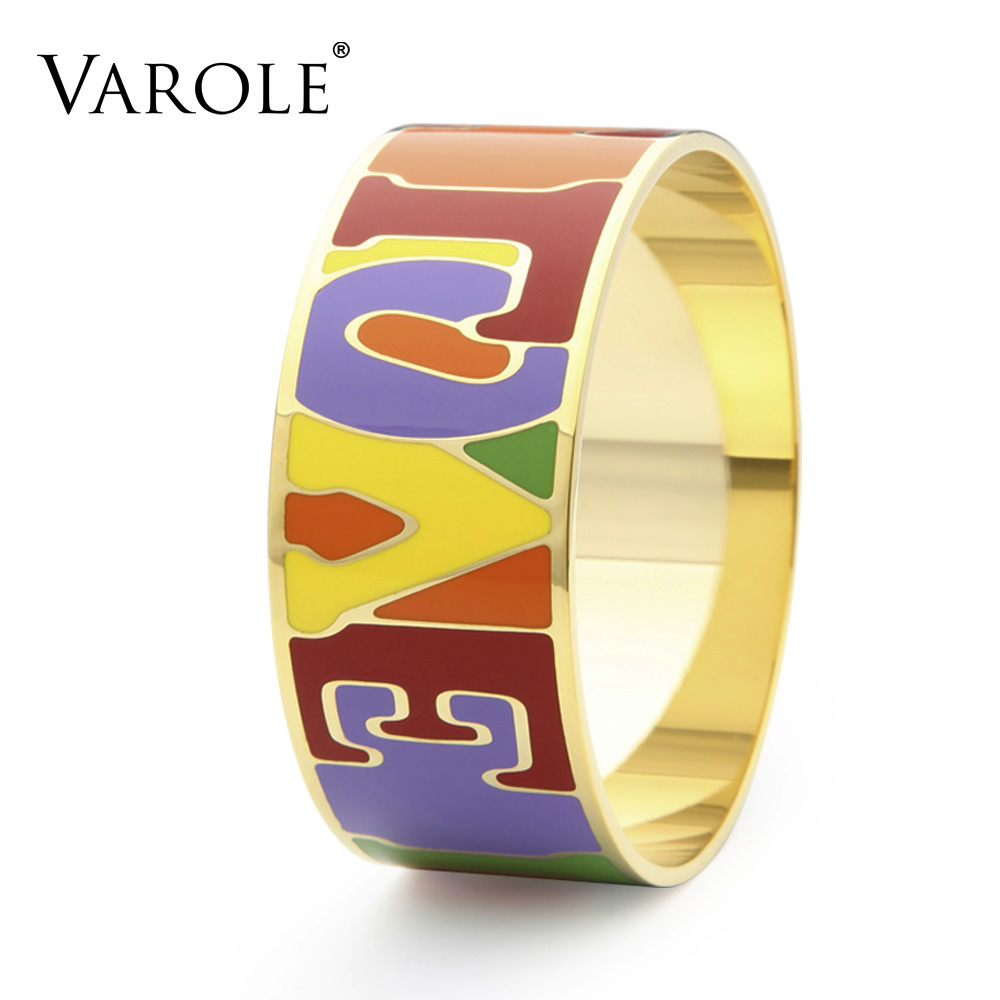 VAROLE 28mm Wide Trendy Enamel Love Bracelet Copper Bracelets & Bangles for Women Gold Bangle Pulseiras trendy letter heart round rhinestone bracelet for women