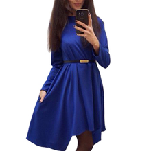 2016 Spring plus size women solid casual dress popular long sleeve O-neck loose Dress autumn winter dresses without belt Q0074B