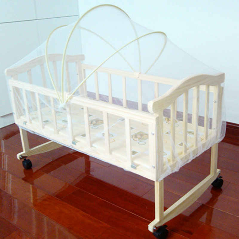 Beedome 4 wheels baby bed with mosquito net/Bedding sets, can change to rocking cradle, pine baby crib