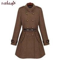 High Quality Women Long Winter Coat Double Breasted Slim Wool Coat Ladies Woolen Jacket Manteau Femme