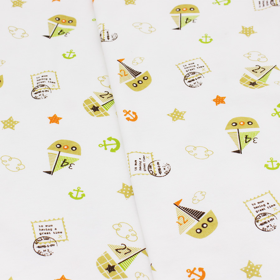 Baby Fabric Elastic Printed Cotton Knitted Cartoon Fabric Of Sewing Infantiles Supplies Children Cloth Baby Bed Sheets Sleepwear