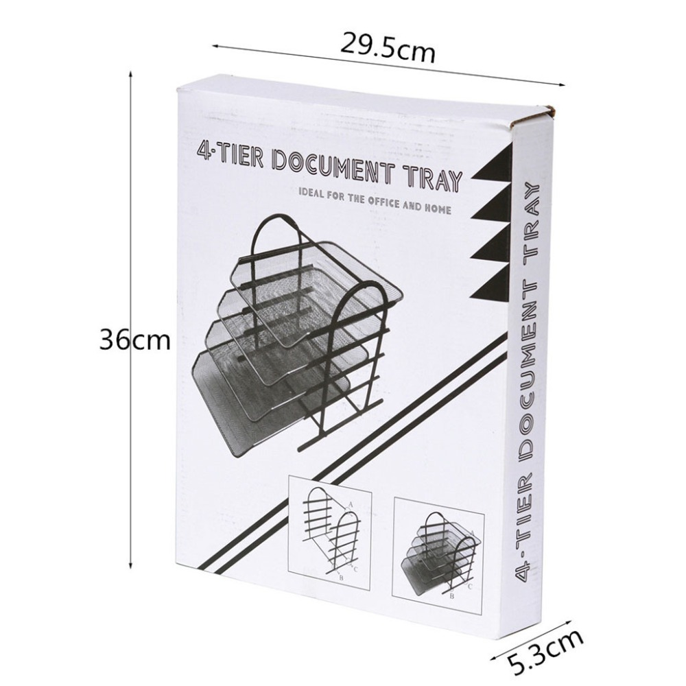 4-Tier File Rack Metal Mesh Letter Tray Scratch-Resistant Stackable Office A4 Paper Organizer Document File Holder U17@Z (7)