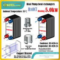 5KW(2HP) R407c 3 in 1 heat pump air conditioner heat exchangers, including B3 020 14 condenser and B3 020 24 evaporator