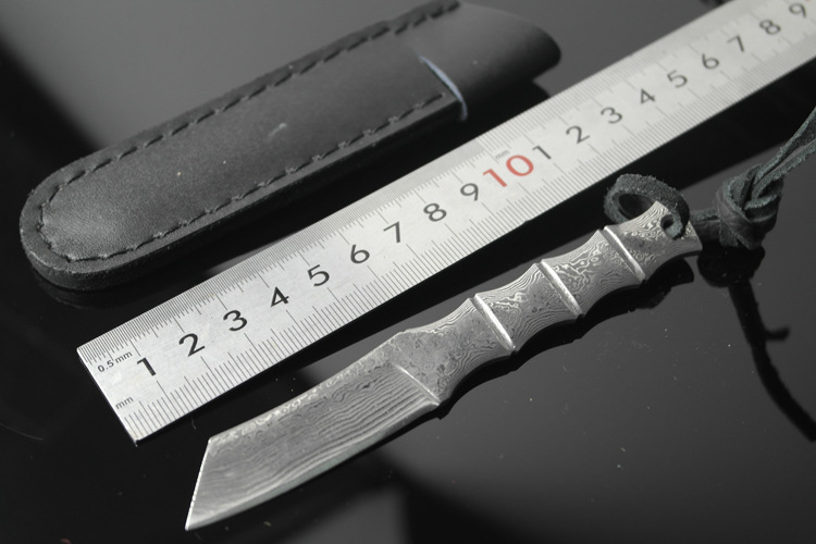 ФОТО Bamboo shape Damascus steel  Outdoor Camping knife Portable Survival Hunting knives with leather sheath knives fixed blade