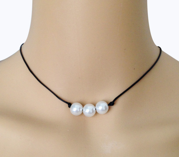 Vintage Pearl Choker Necklace: Natural Three Pearl Necklace Leather Rope Real Pearl