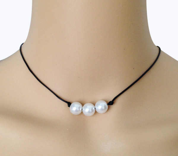 42f5cb5cc7804 Natural three pearl necklace Leather rope real pearl necklaces triple  pearls choker necklace vintage jewelry for women necklace