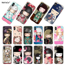 MaiYaCa  kawaii Japanese Kokeshi Doll Case For iPhone 7 Transparent Case for iPhone 8 7 6S Plus X 5 5S SE XR XS MAX Fundas Capa abwe best sale 3 pcs flower print wood japanese folk craft kokeshi doll pink