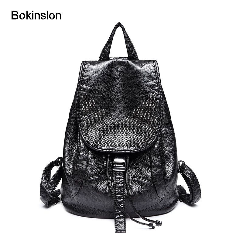Bokinslon Bags Backpack Women Split Leather Casual Woman Backpack Popular College Wind Solid Solor Bag For