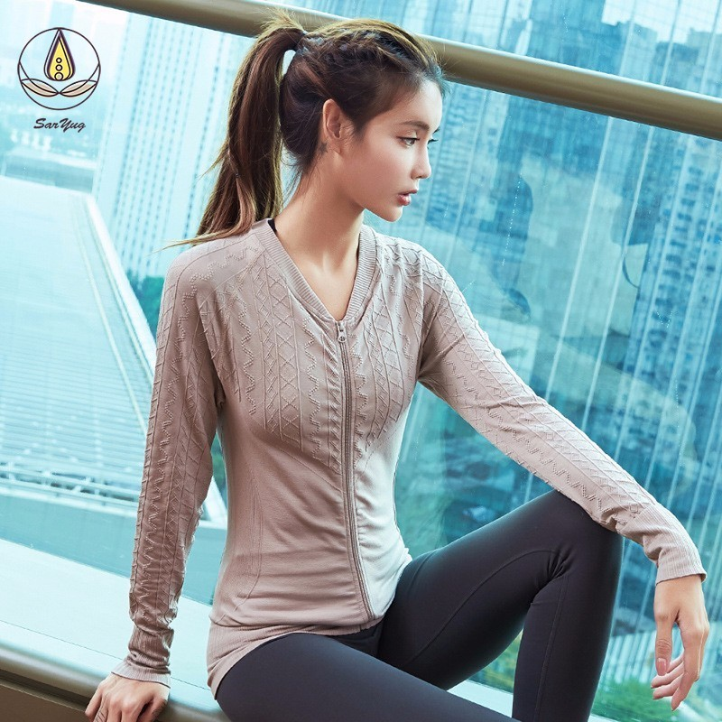 New Women Sport Jacket Yoga Zipper Running Jackets Top Training Gym Quick Dry Long Sleeve Coat