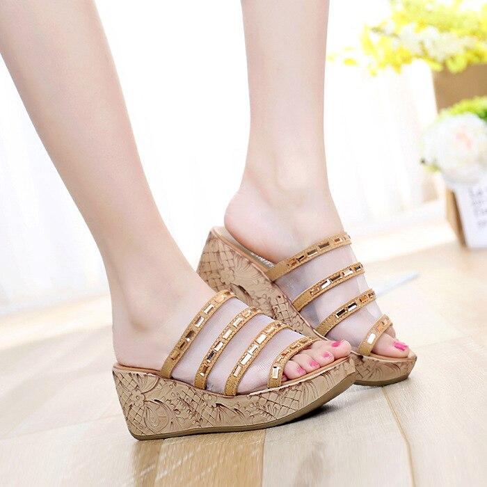 Womens Ladies Pearl Wedges Flip Flops Sandals Slippers Peep Toe Casual Shoes