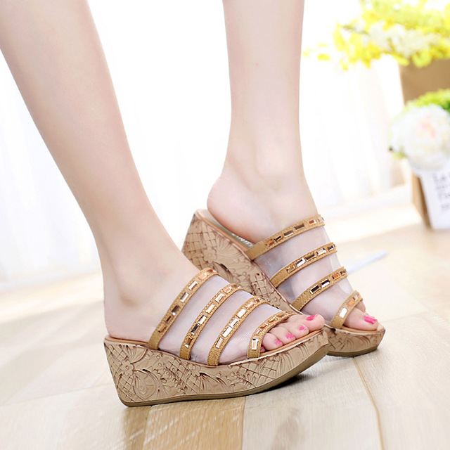 13090afe2 Charming High Heel Slippers Platform Sandals Ladies Wedges Sandals Brand  Flip Flops Summer Waterproof Shoes Women Beach Slippers