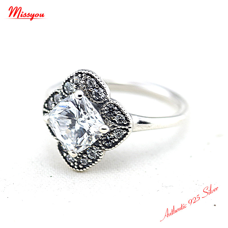 Crystalized Floral Fancy Rings 100% 925 Sterling Silver Jewelry ...