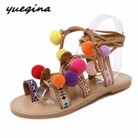 Boho Bohemian Gladiator Roman Sandals Shoes Woman Pompon Knee High Ankle Strap Ethnic Summer Boots Embroidered