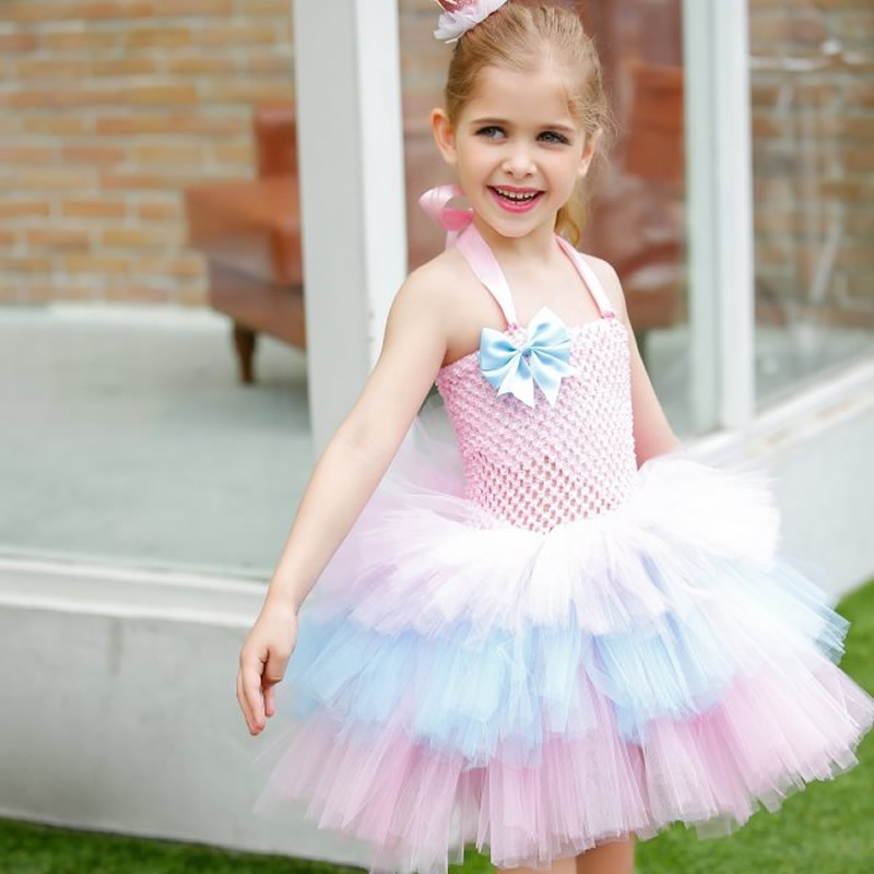 2016 Pink Rainbow Girl Dress Cute Cake Three Layer Girls Tutu Dress with Blue Bow Girl Clothing for Birthday Holiday Photo