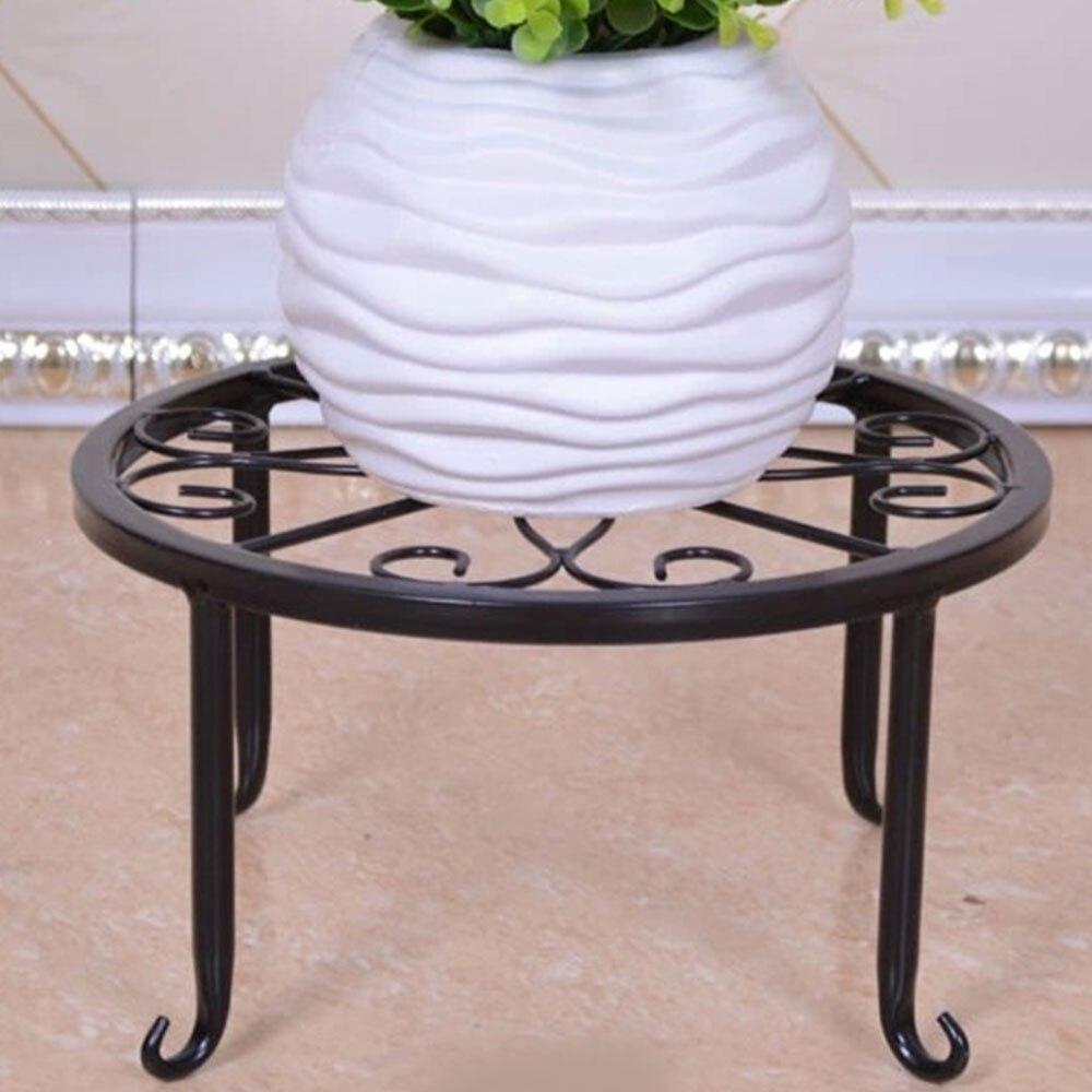 Горшечная стойка для цветочного горшка полка хранения цветов домашний декор создает прочный сад кованого железа - Цвет: black