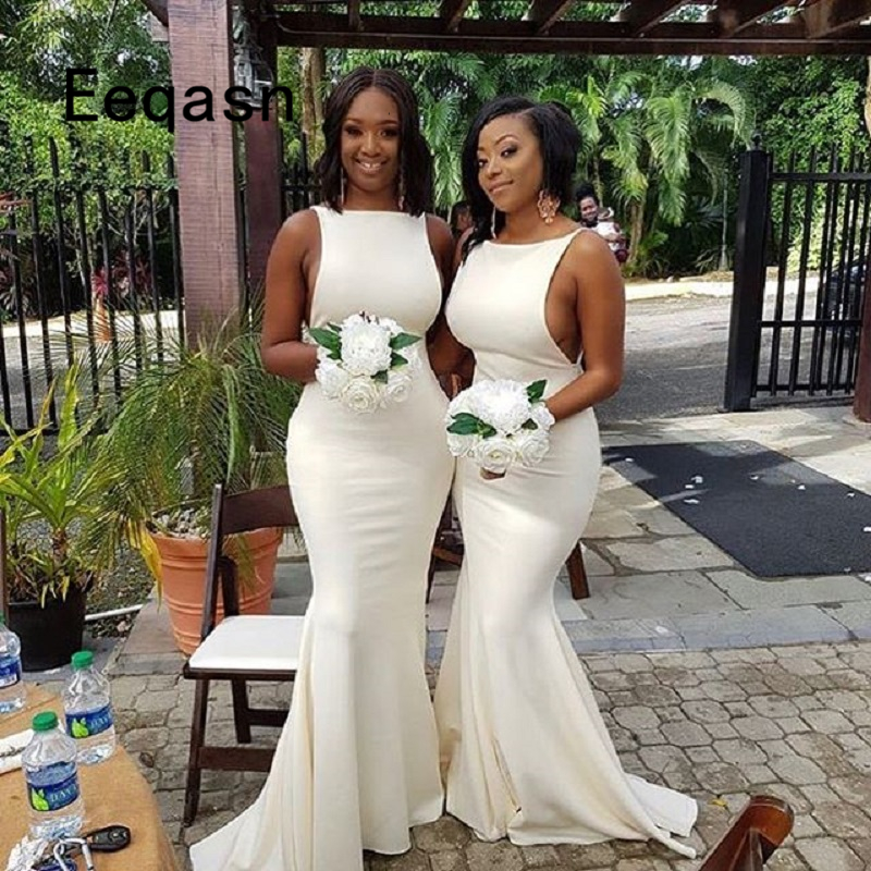 Sexy Mermaid Bridesmaid Dresses 2019 African Wedding Party Beach Wedding Guest Gowns Floor Length Maid Of Honor Dress