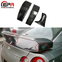 Car styling For Nissan R35 GTR Carbon Fiber Spoiler Raise Lifter Block Glossy Finish GT R Trunk Wing Leg Boot Lid High Stand Kit