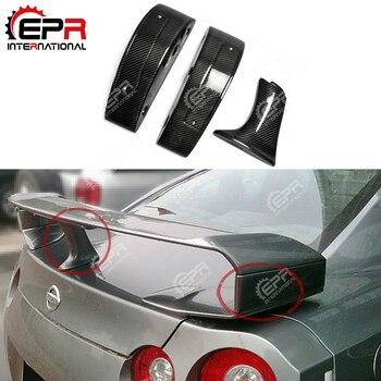 Voiture-style pour Nissan R35 GTR fibre de carbone Spoiler soulever le bloc de levage finition brillante GT-R aile de coffre jambe botte couvercle haut support Kit