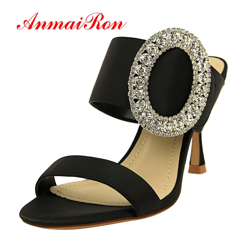 ANMAIRON 2019 Women High Heel Crystal Sandals Silk Basic Party Shoes Slip-On Solid 6 Colors Fashion Size 34-40LY1789