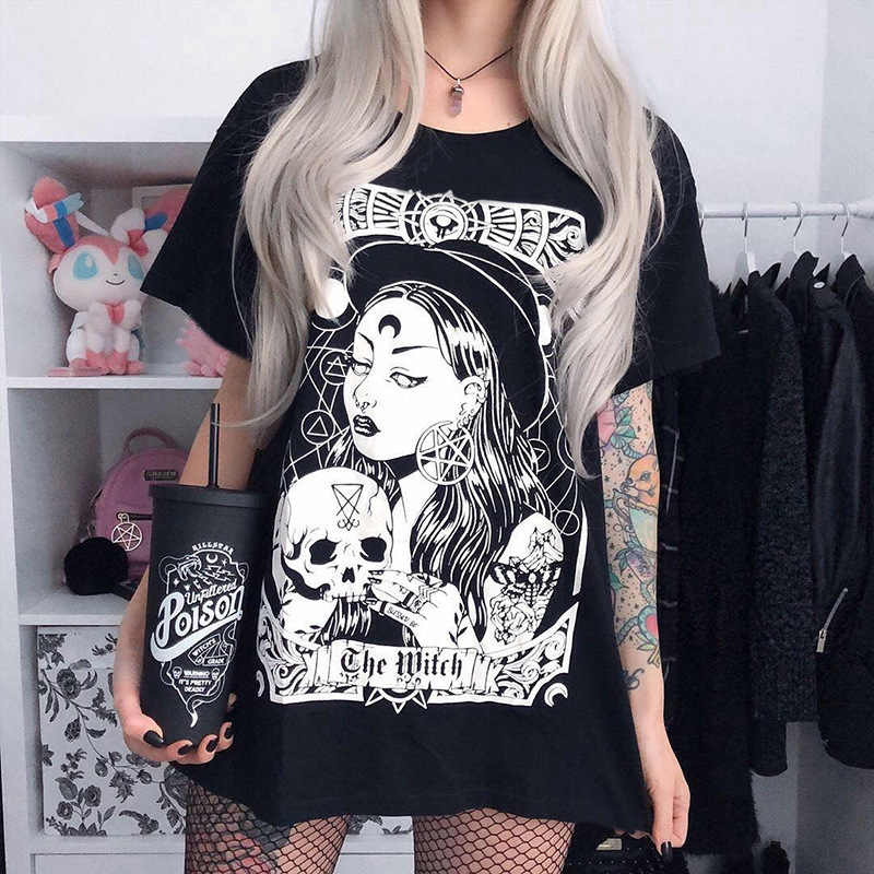 JIEZHOUFANG Women T-shirts Sexy Halter Tops Gothic Black Bandage Hollow Out Lace Off Shoulder Female Gothic Punk Streetwear Tops