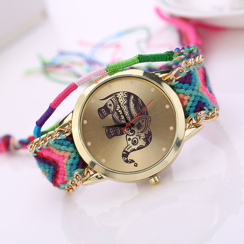 Excellent Quality Relogio Women Girl Handmade Weaved Braided Prinnt Watch Elephant Bracelet Quarzt Clock Hours Reloj Relogio