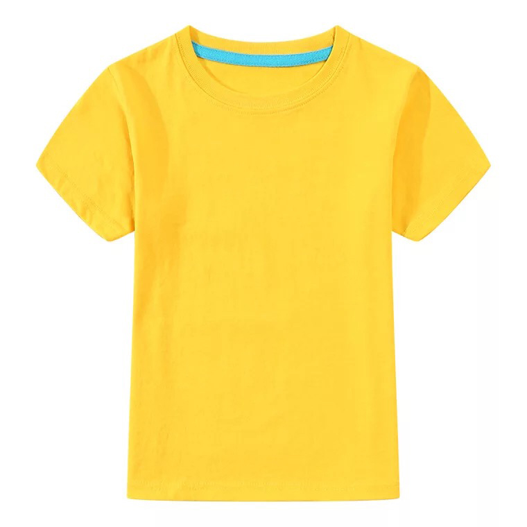 Solid color T-shirt yellow 3T4T5T6T7T8T popular boys and girls short-sleeved shirt boys and girls T-shirt 11C