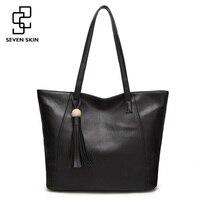 SEVEN SKIN Brand Leather Bags Women Casual Tote Bag With Tassel Women Shoulder Bag Ladies Messenger