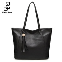 SEVEN SKIN Brand Leather Bags Women Casual Tote Bag With Tassel Women Shoulder Bag Ladies Messenger