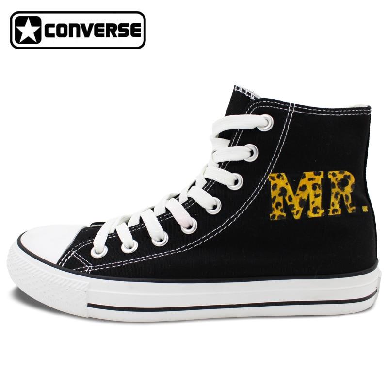 MR MRS Leopardenmuster Original Design Converse All Star Hand gemalt Schuhe Mann...