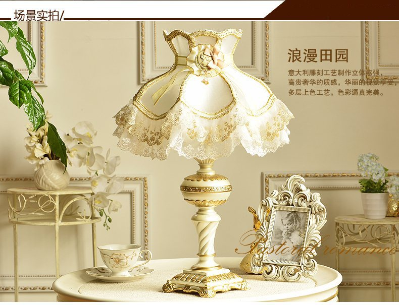 Table Lamps For Living Room Decor Princess Lamp Bedroom Living Marriage Decoration Girl Bedside Light Foyer Girl Wedding Fabric