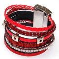 Magnética pulseira envoltório, Estilo brasileiro pulseira colorida Magnetized tecido pulseira, Lt siam cristal e couro vermelho