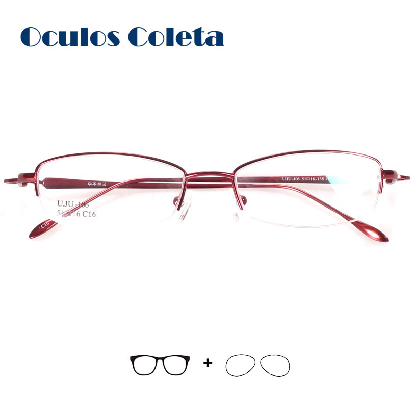 Women prescription eyeglasses half rim spring thin temple red/blue