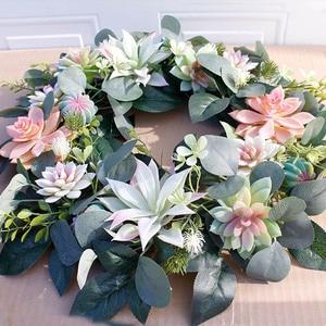 Image 3 - Artificial Succulent Flower Wreath Garden Hanging Wreath for Home Wall Front Door Wedding Decor