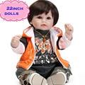 Mais recente Chegada 55 cm Top NPK Silicone Renascer Baby Dolls Com Suaves E Sedosos Cabelos Extremamente Realista Boneca Brinquedos Para menina