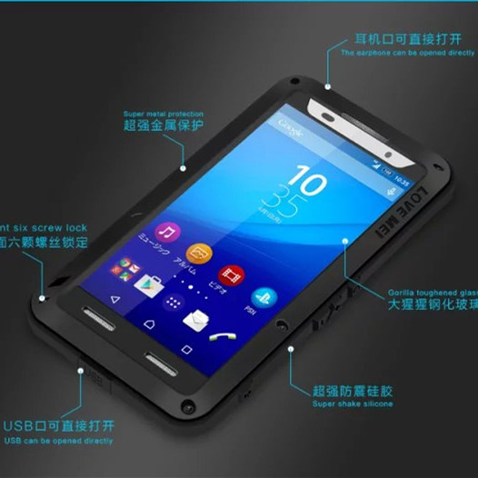 Original Love Mei For Sony Z3+Dual Aluminum Cover case For Sony Xperia Z4 Dirt Shockproof Powerful Dropproof Z4 Phone Cases