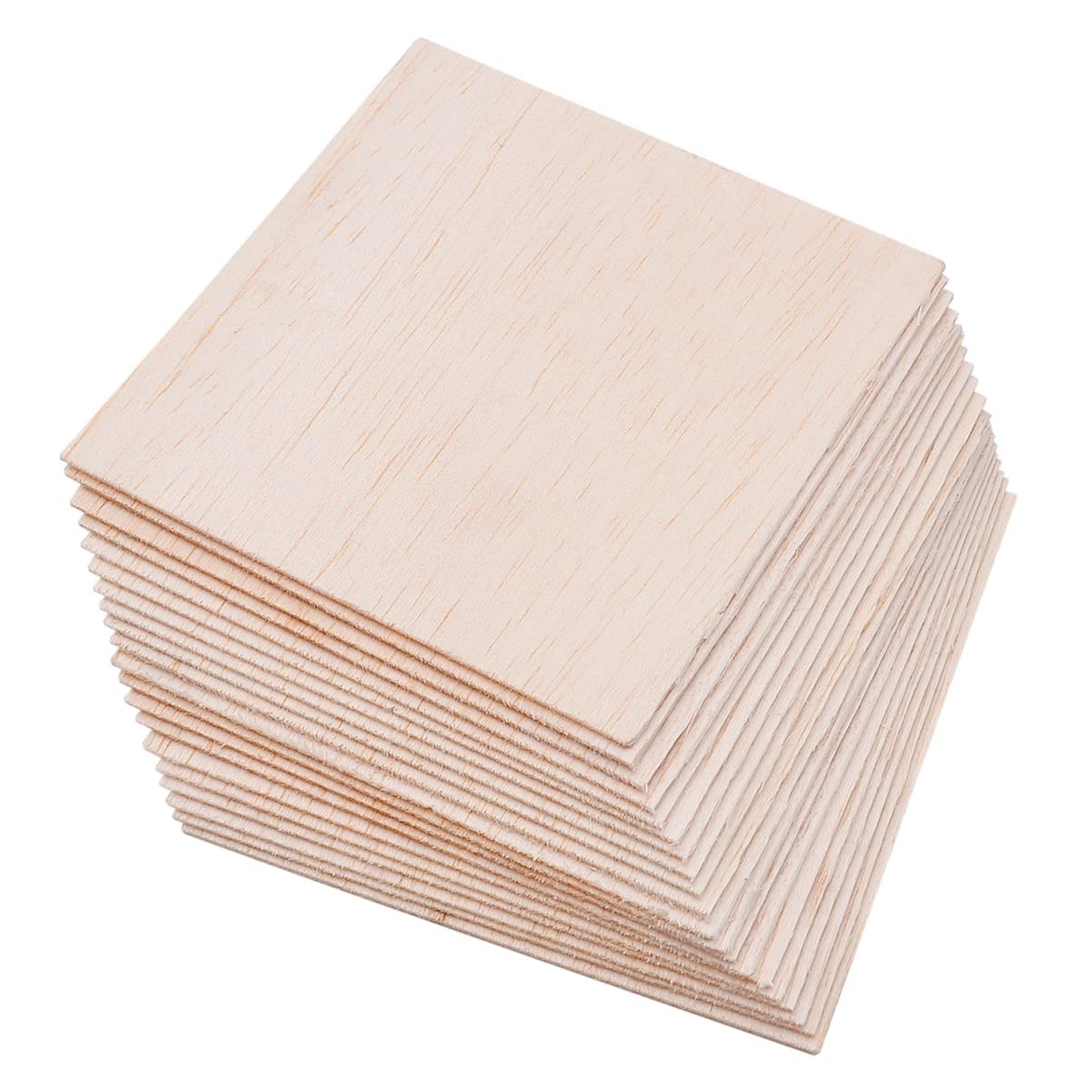 20pcs/set Balsa Wood Sheets Wooden Plate Model For DIY House Ship Aircraft 100x100x1mm