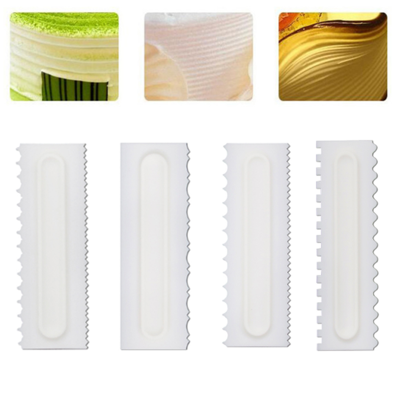 Baking Accessories Cake Scraper Cake Decorating Comb Plastic 1Pcs Cream Smoother White Pastry Icing Combs Fondant Spatulas