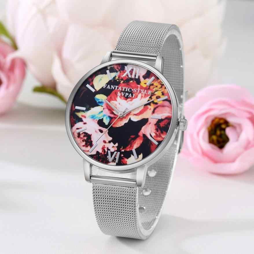 นาฬิกาแบรนด์ LVPAI ผู้หญิงดอกไม้พิมพ์ลายรอบนาฬิกาควอตซ์แฟชั่น 2018 เงินนาฬิกาข้อมือ Reloj Mujer 18APR23