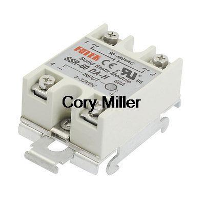 цена на DIN Rail Mount Single Phase Gray Solid State Relay SSR 60A 3-32VDC 90-480VAC