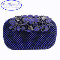 New Red/Royal Blue Crystal Evening Bags and Clutches with Flowers for Womens Party Wedding Prom Dress