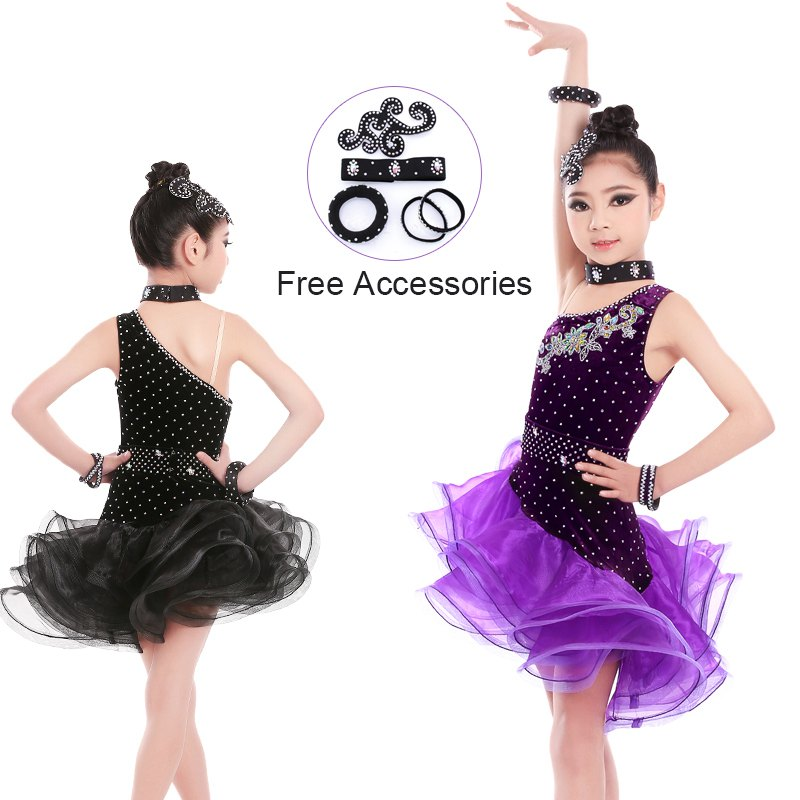 Strapped Black Latin Dress Girls Velvet Ballroom Latin Dance Wear Kids Cold Shoulder Vestido De Baile Latino For Sale