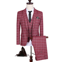 toturn mens plaid suits Korean business slim 3 piece suits for man red prom suits designer suits for men free shipping 9883