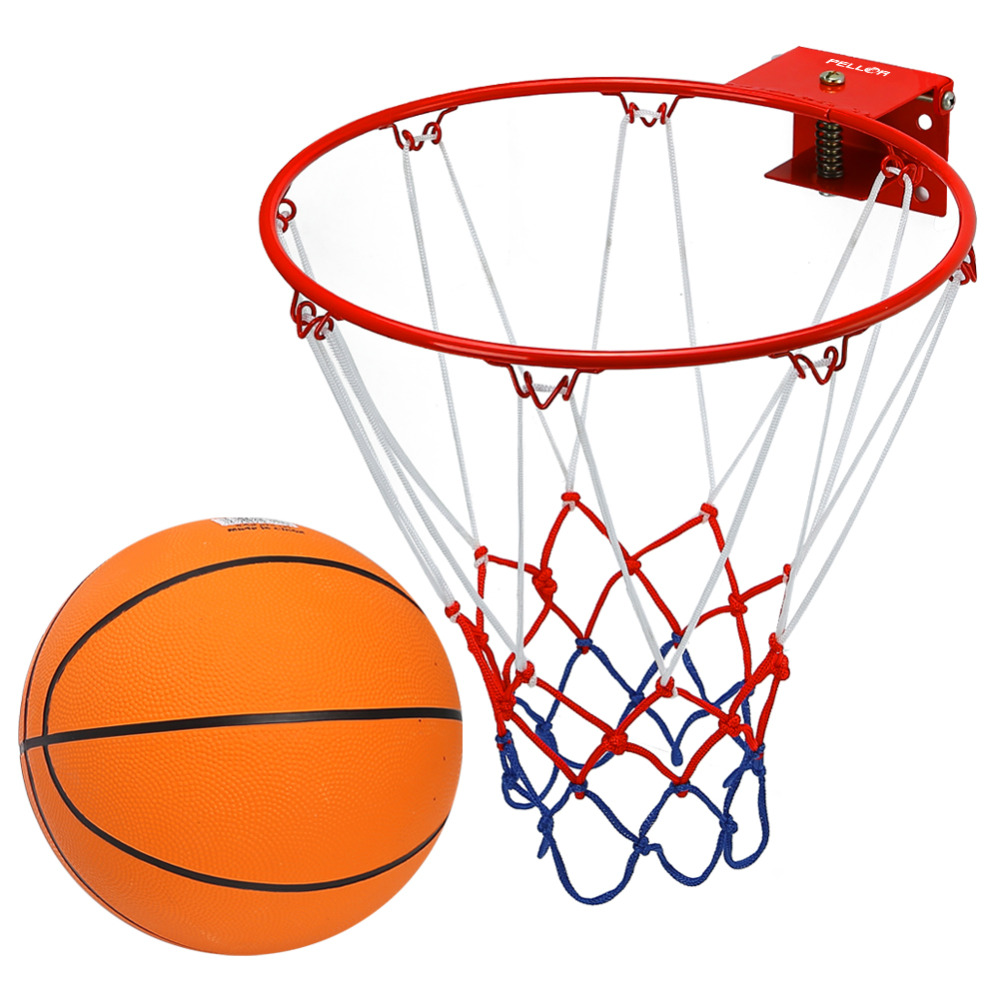 Pellor Indoor and Outdoor Wall Mounted Solid Basketball Hoop Ring with Rubber Basketball and Pump for Children Kids ...